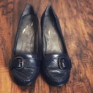 ❤️Aerosols Heel Rest Leather Pumps, Navy Blue, 8